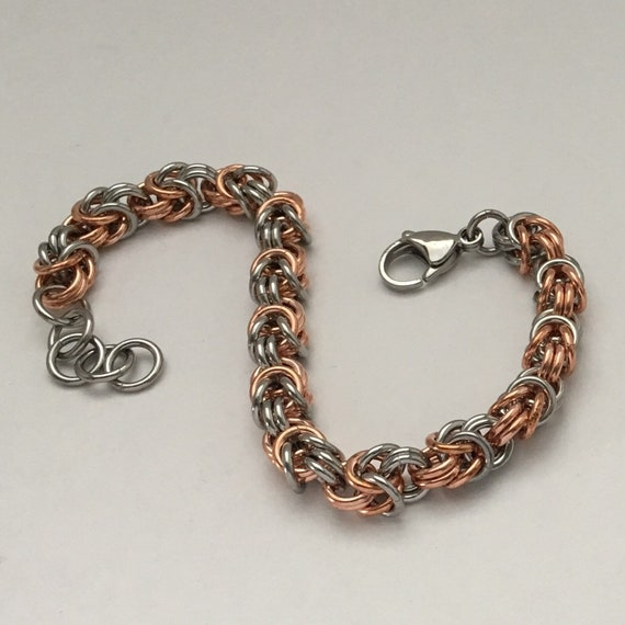 Copper / Stainless Steel Half Byzantine bracelet - cute and unusual