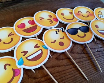 Emoji Party - Set of 12 Emoji Double Sided Assorted Cupcake Toppers by The Birthday House