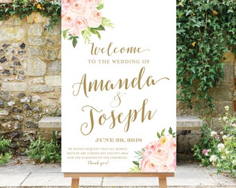 Unplugged Wedding Welcome Sign | Printable | Blush Pink Flowers | Floral Welcome Sign | Digital File | The Bella
