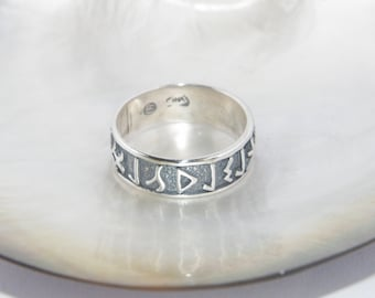 925 Oxidized Sterling Silver Ring With Celtic Runes -Select your size