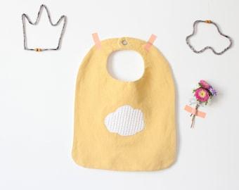 Baby Canteen Bib Yellow / Baby bib large handmade large size / large napkin / mixed birth gift