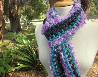Fluffy Winter Scarf with Fringe - Blue Knitted Crochet long Scarf - Fun Accessories