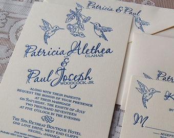 Letterpress Wedding Invitation Sample, Wedding Invitation, Hummingbirds Wedding Invitation, Hummingbirds Invitation, Wedding Invitations