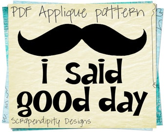 Mustache Applique Template - Mustache Applique Pattern / Mustache Baby Shirt / Mustache Clothing Design / Unique Iron on Transfer AP108-D