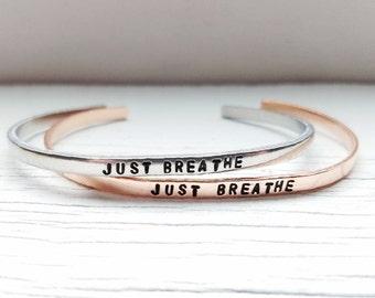 Just Breathe Bracelet, Breathe Bracelet, Yoga Bracelet, Hand Stamped Bracelet, Skinny Stacking Cuff