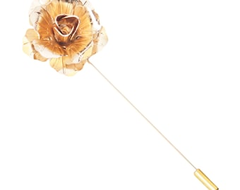 Gold Metal Rose Lapel Flower Pin