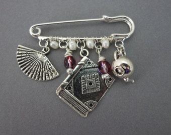 Jane Austen charm brooch, Recency charm brooch, Pride and Prejudice brooch, Christmas stocking filler present