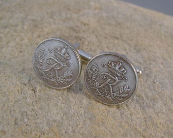 Like Royalty - Vintage 1953 Silver Crown Letter R Danish Denmark Coins Steampunk Cufflinks, Man Gift, Groomsman Gift, Birthday Gift