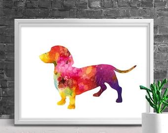 Dacshund Dog Watercolor Art Print - Giclee Wall Decor Home Decor Housewarming Gift Birthday Gift Pet Lover's Gift