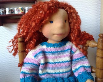 Waldorf doll Sahara - Waldorf Doll, Steiner doll,  Waldorf inspired  and her friend Soft Fox