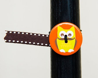 BosoBuddies - Orange with Yellow Owl w/ Brown White Stitched Ribbon (1206A-055)