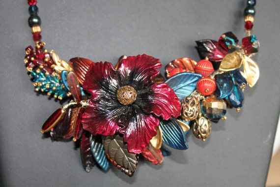 NECKLACE Beautiful HASKEL? Art Deco  necklace micro beads, glass flowers, fruit salad design