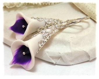 Purple Picasso Calla Lily Earrings - Silver or Antique Brass Picasso Calla Lily Jewelry, Picasso Calla Lily Filigree Earrings