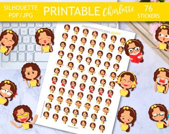 BIG SALE, Printable Stickers, Emotion stickers, Emoji stickers, Kawaii Stickers, Girls planner stickers for erin condren planner, everyday