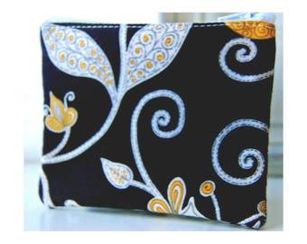 Vera Bradley Reißverschluss Tasche handgefertigt gelber Vogel schwarz Druck kleine Reißverschluss Brieftasche ändern Geldbörse Freund Geschenk Idee Reißverschluss Tasche
