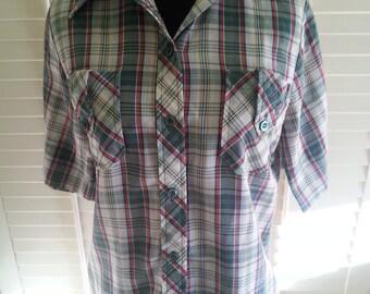 Vintage shirt, vintage green shirt, vintage 1970's shirt, vintage 1970's shirt. A7