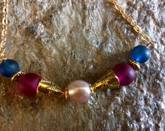 Sale: Fresh Water Pearl Necklace,Choker with Sea Glass