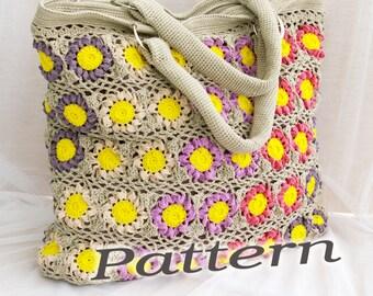 Crochet Bag PATTERN, crochet beach bag pattern, detailed instructions in English, crochet summer handbag pattern, instant download.