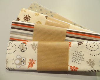 four cut 100% cotton fabric 50 x 50 cm, your cream and beige