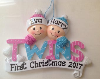 Personalized Twin Boy/Girls First Christmas Ornament- Newborn, Baby Shower Gift / Favor
