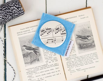 Vintage Music Mirror, sheet music compact make-up mirror, fun music lover design, made in UK, free UK postage small gift, teacher present