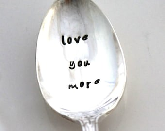Stamped Iced Tea Spoon Vintage - love you more - Cute Gift Idea Wedding Decor Cake Table Setting Shabby Chic - Enchantment/London Town 1952