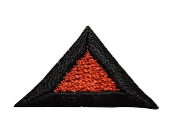 ID 8823 Lot of 3 Red Triangle Symbol Patch Shape Embroidered Iron On Applique