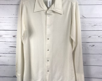 Vintage 70's mens polyester button up shirt size Medium - Vintage 70's cream colored shirt - mens 70's formal shirt - vintage mens shirt