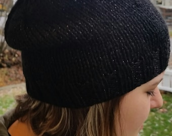 slouchy Knit Hat, Knit Beanie, snowboarding hat, Slouch Hat, Black Slouchy Beanie, Slouchy, Slouchy hat, Black sparkle  Slouchy Style hat