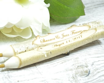 Rustic Pen Holder - Wedding Guest Book Pen  - Rustic Guest Book Pen - Personalized Wedding Decor - Wedding Gift - Wedding Pens