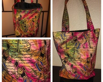 STUDIO SISTER2SISTER African Print Tote Bag, Foldable, Shopping, Laptop, Market, Grocery Bag.