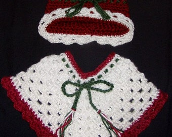 Holiday Poncho and Hat