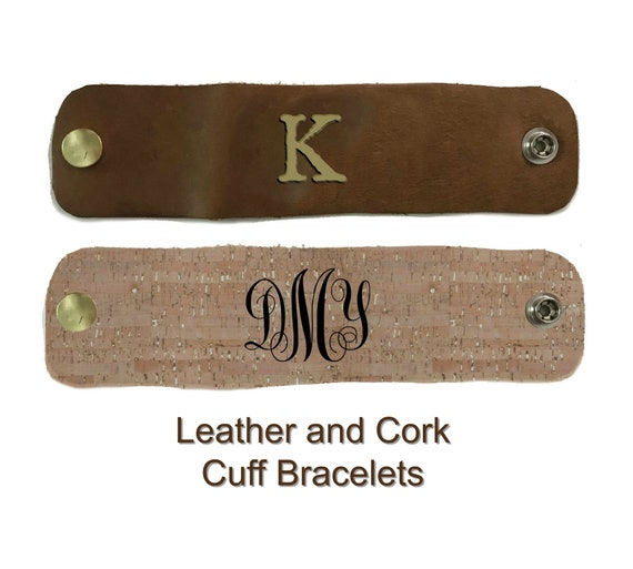 Monogrammed Cuff Bracelet in Leather or Cork