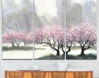Flowering Trees at Spring - Landscape Art Print - Available in Metal Wall Art or Canvas Art Print (PT6357)