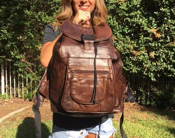 Leather backpack,XLarge, Brown, Genuine Leather, Backpack, Shoulder Bag, Made in Mexico