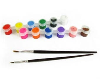 12 Colors Acrylic Paint Set & 2 Paint Brushes