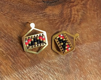 Gold Hexagon Stud Earrings with Black, Red and Gold Beads from South Africa