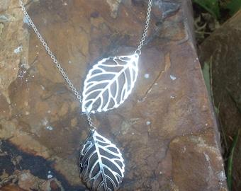 Silver lariat, Y necklace