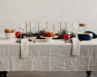 Striped linen tablecloth. Stone washed. Round dine tablecloth. Square dine tablecloth.