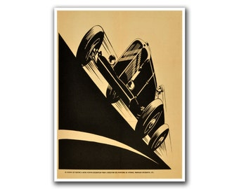 Vintage Race Car Art Deco Print Motorsports Poster (H63)