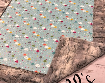 Tot size Puddle play happy clouds minky blanket