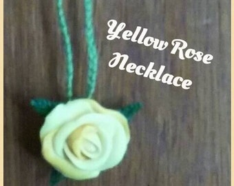 10 Dollar SALE/ Yellow Rose Necklace