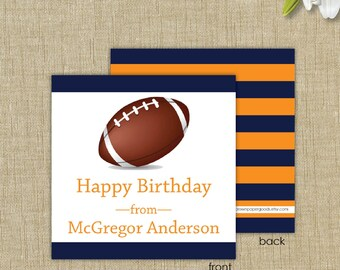 Personalized gift enclosure card with envelopes. Football gift tag