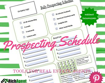 Prospecting Schedule Real Estate | Real Estate Form | Realtor Form | Real Estate Agents | Realtors | Real Estate Marketing | Realtor Planner
