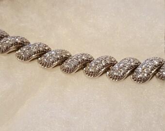 Diamonique san marco bracelet in sterling silver.FREE SHIPPING