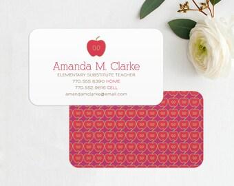 Teacher Business Card / Calling Card / Mommy Card / Contact Card - Teacher, Substitute Teacher, Tutor, Instructor, Business Cards