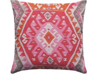 Pink Tribal Pillow Cover //Aztec Throw Pillow // Orange Pillow Covers // Pink Pillow Covers // Pink Tribal Cushion Cover // HIDDEN ZIPPER