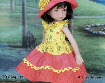 "PRINTED Sewing Pattern for Dianna Effner 13"" Little Darlings, Hearts to Hearts, Kish Chrysalis / Puddle Jumper Dress and Hat"