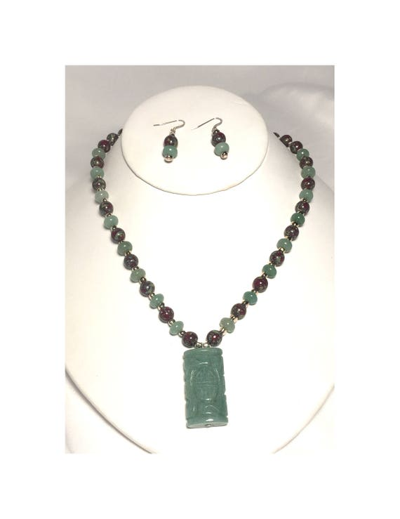 Jade  and Picasso Stone Pendant Necklace and Dangle Earrings Set