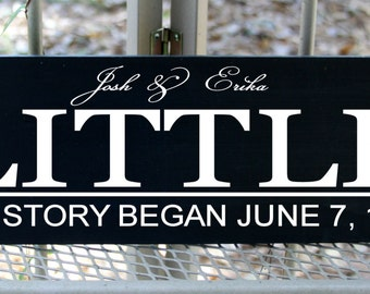 Personalized Our Story Family Name sign with established date